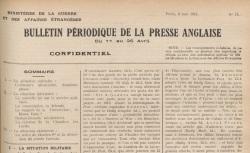 """Accéder à la page """"Bulletin périodique de la presse anglaise"""""""