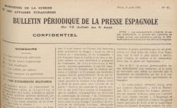 """Accéder à la page """"Bulletin périodique de la presse espagnole"""""""