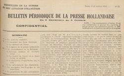 """Accéder à la page """"Bulletin périodique de la presse hollandaise"""""""