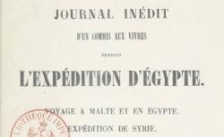 """Accéder à la page """"Campan, Journal d'un commis pendant l'expédition d'Egypte"""""""