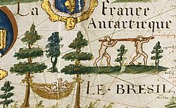 Carte de l'Atlantique (détail), Pierre de Vaulx, [Le Havre], 1613.