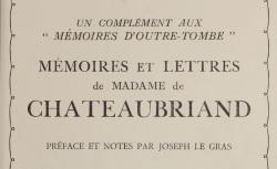 """Accéder à la page """"Chateaubriand, Madame de, Mémoires et Lettres"""""""
