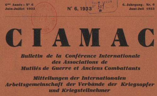 """Accéder à la page """"CIAMAC. Bulletin de la Conférence internationale des associations de mutilés de guerre et anciens combattants"""""""