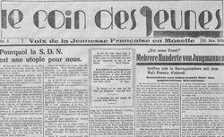 """Accéder à la page """"Coin des jeunes (Le) : Voix de la jeunesse française en Moselle"""""""