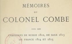 """Accéder à la page """"Combe, colonel, Mémoires"""""""