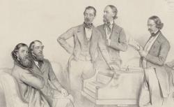 Franz von Suppé entouré de Carl Binder, Anton Storch,... / lithogr. de Kriehuber, 1852 - source : gallica.bnf.fr / BnF