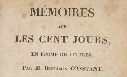 """Accéder à la page """"Constant, Benjamin, Mémoires sur les Cent Jours"""""""