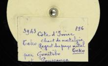 """Accéder à la page """"Teko : chant de nostalgie, regret du pays natal / Gonitibo et Boussanga, duo de cordes pincées. Kikirigua Poco : chant d'amour / Gonitibo et Boussanga, duo de cordes pincées"""""""