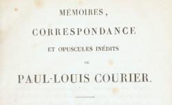 """Accéder à la page """"Courier, Paul-Louis, Mémoires, correspondance et opuscules inédits"""""""