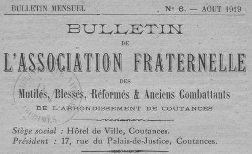 """Accéder à la page """"Bulletin de l'Association fraternelle des mutilés, blessés, réformés & anciens combattants de l'arrondissement de Coutances"""""""