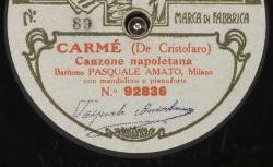 Carmé. Canzone napoletana / De Cristofaro, comp. ; Pasquale Amato, baryton ; acc. mandoline et piano - source : gallica.bnf.fr / BnF