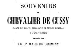 """Accéder à la page """"Cussy, chevalier de, Souvenirs"""""""