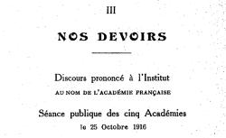 """Accéder à la page """"Nos devoirs (texte du discours prononcé à l'Institut de France)"""""""