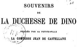 """Accéder à la page """"Dino, duchesse de, Souvenirs"""""""