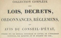 """Accéder à la page """"Collection complète des lois, décrets, ordonnances, règlements, et avis du Conseil d'Etat"""""""