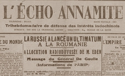 """Accéder à la page """"L'Echo annamite : organe de défense des intérêts franco-annamites"""""""
