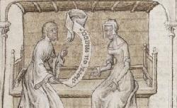Figure de l'humanisme français: Christine de Pizan a rédigé des poèmes, des traités philosophiques, politiques, et militaires  Epistrealareine_fr.580