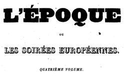 """Accéder à la page """"Epoque ou les Soirées européennes (L') """""""