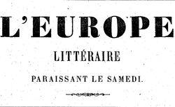 """Accéder à la page """"Europe littéraire (L') """""""