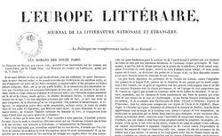 """Accéder à la page """"Europe littéraire (L') : journal de la littérature nationale et étrangère"""""""