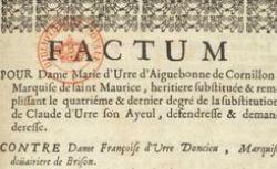 Factum pour dame Marie d'Urre d'Aiguebonne de Cornillon, marquise de Saint-Maurice