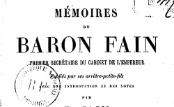 """Accéder à la page """"Fain, baron, Mémoires"""""""