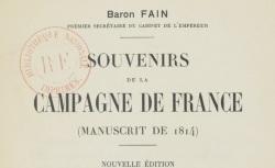 """Accéder à la page """"Fain, baron, Manuscrits... pour servir à l'histoire de l'empereur"""""""