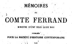 """Accéder à la page """"Ferrand, comte, Mémoires"""""""