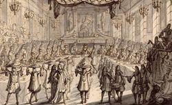 Pierre Lepautre. Festin donné à Louis XIV dans la Grande Salle du Trône à l'Hôtel de ville