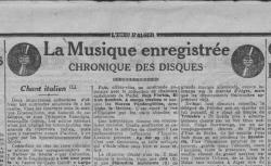 """""""La Musique enregistrée. Chronique des disques : le chant italien"""", L'Echo d'Alger, 17/10/1928 - source : gallica.bnf.fr / BnF"""