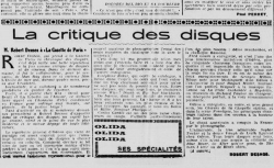 La Gazette de Paris - La Critique des disques (02/02/1929) - source : gallica.bnf.fr / BnF