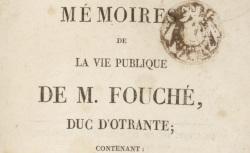 """Accéder à la page """"Fouché, Joseph, Mémoires"""""""