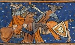 Français 1581 fol. 6v. Renart blesse Ysengrin en combat singulier