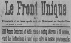 """Accéder à la page """"Front unique des combattants et de leurs ayants droit du département du Puy-de-Dôme (Le)"""""""