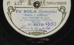 """Tu sola : """"Seujeto e scuntento"""" ; Gambardella, comp. ; Fernando de Lucia, T ; acc. orch."""