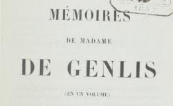 """Accéder à la page """"Genlis, Madame de, Mémoires"""""""