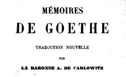 """Accéder à la page """"Goethe, Mémoires"""""""