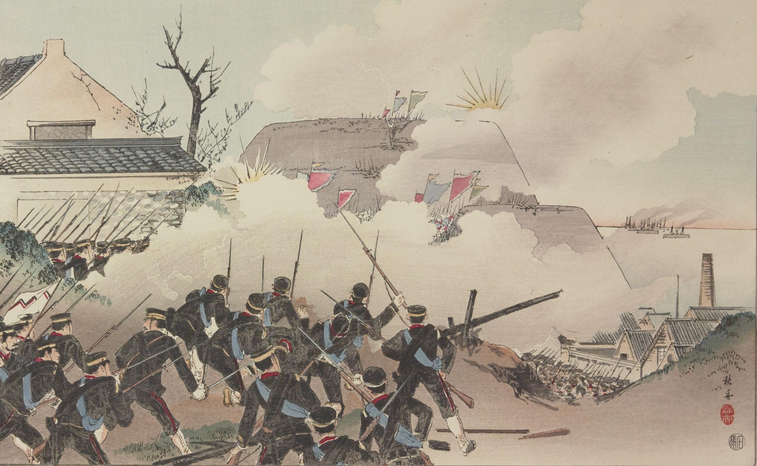 """Grand combat dans la ville de Riodjonku..."".Kubota Hiroshi Beisen, Guerre sino-japonaise, 1896. PET FOL-OD-313"