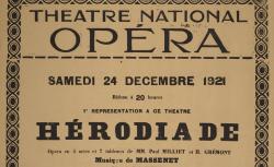 [Enregistrements sonores] : Affiche : Théâtre national de l'Opéra. Samedi 24 décembre 1921... 1ère représentation à ce théâtre... - source : gallica.bnf.fr