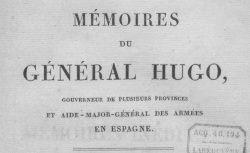 """Accéder à la page """"Hugo, général Joseph, Mémoires"""""""