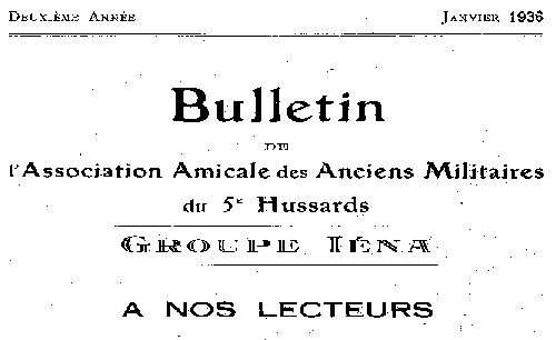"""Accéder à la page """"Bulletin de l'Association amicale des anciens militaires du 5e Hussards. Groupe Iéna"""""""