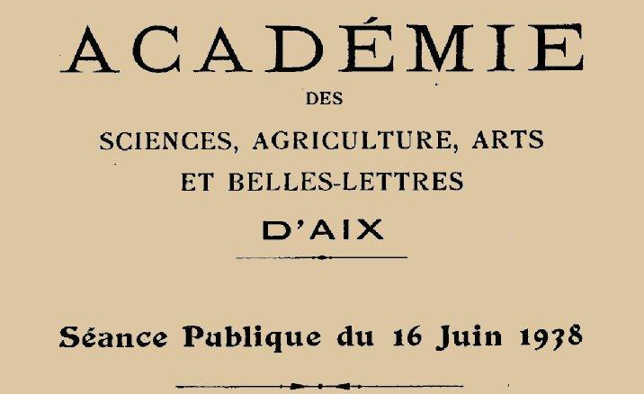 """Accéder à la page """"Académie des sciences, agriculture, arts et belles-lettres d'Aix-en-Provence"""""""