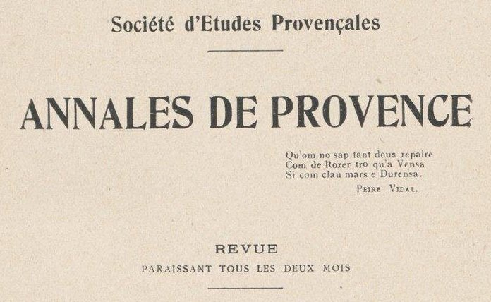 """Accéder à la page """"Société d'études provençales (Aix)"""""""
