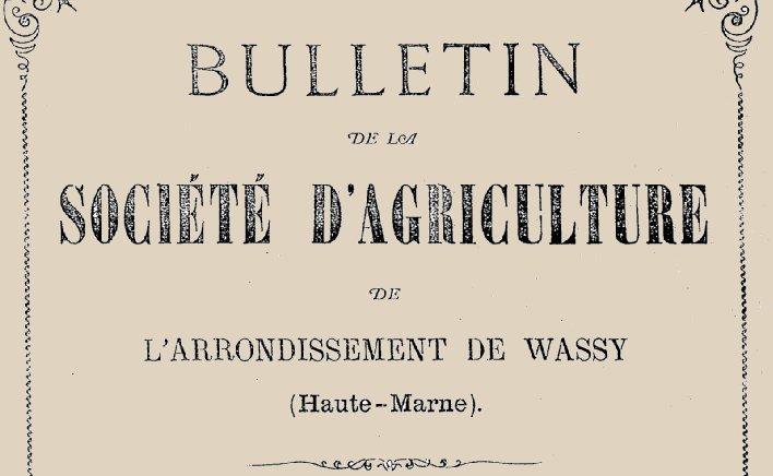 """Accéder à la page """"Société d'agriculture de l'arrondissement de Wassy"""""""