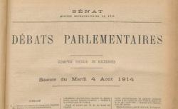 """Accéder à la page """"Débats parlementaires, Sénat : séance du mardi 4 août 1914."""""""