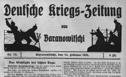 """Accéder à la page """"Deutsche Kriegszeitung von Baranowitschi"""""""