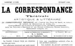 """Accéder à la page """"Correspondance théâtrale (La) """""""