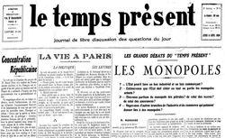 """Accéder à la page """"Temps présent (Le)"""""""