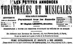 """Accéder à la page """"Petites annonces théâtrales et musicales (Les) """""""