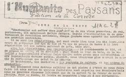 """Accéder à la page """"Humanité des paysans (L') (Corrèze)"""""""